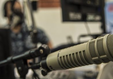 Radio studio and microphone